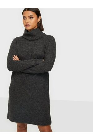 Only Onljana L/S Cowlnck Dress Wool Knt Dark Grey Melange