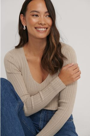 NA-KD V-neck Light Rib Knitted Sweater