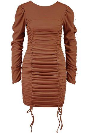 Boohoo Gathered Sleeve Ruched Front Mini Dress