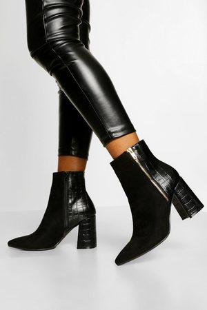 Boohoo Zip Side Block Heel Shoe Boot