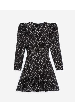 The Kooples Dame Kjoler - Short black dress with silver polka dots