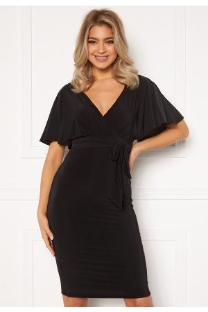 Goddiva Dame Midikjoler - Flutter Sleeve Fitted Midi Dress Black M (UK12)
