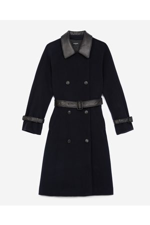 The Kooples Trench-style navy blue wool coat