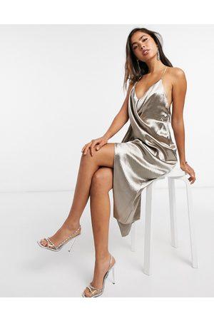 ASOS Drape front cami slip dress with strap back detail-Brown