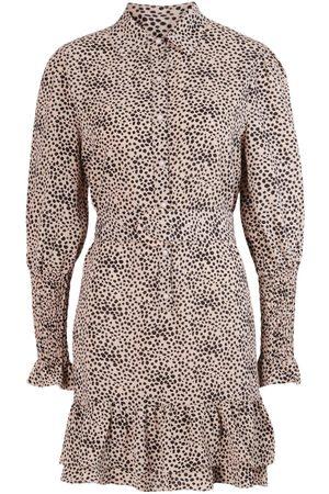 Boohoo Spot Print Frill Hem Belted Shirt Dress