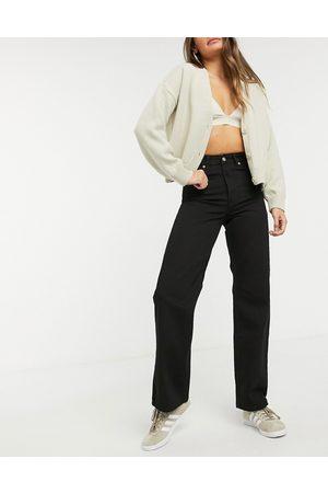Dr Denim Dame High waist - Echo high waist wide leg jeans in black