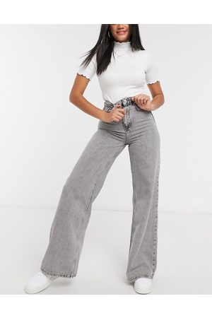 Stradivarius Dame High waist - 90s wide leg jeans in grey-Blue