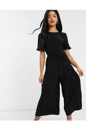 ASOS Tea jumpsuit with button back detail in black-Multi
