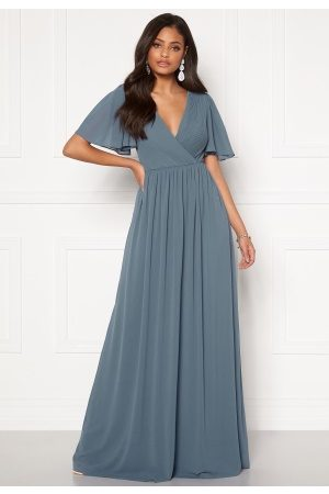Moments New York Liana Chiffon Gown Grey-blue 36
