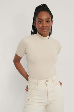 Calvin Klein Rib Short Sleeve Mock Neck