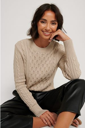 NA-KD Cable Knit Round Neck Sweater