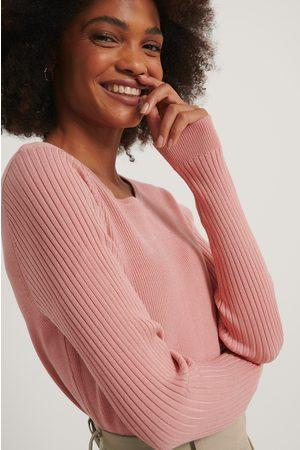 NA-KD Dame Strikkegensere - Ribbed Knitted Cropped Sweater