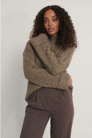 NA-KD Folded Sleeve High Neck Knit Sweater