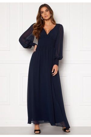 Goddiva Dame Maxikjoler - Long Sleeve Shirred Maxi Dress Navy S (UK10)
