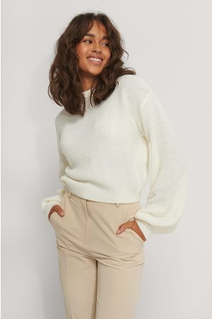 NA-KD Balloon Sleeve Knitted Cropped Sweater