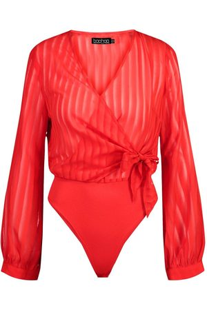 Boohoo Woven Stripe Wrap Bodysuit