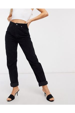 ASOS High rise 'slouchy' mom jeans in black cord