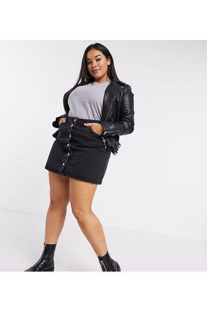 ASOS ASOS DESIGN Curve denim button through skirt in black