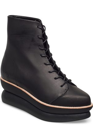Gram Dame Skoletter - 503g Lace-Up Black Leather Shoes Boots Ankle Boots Ankle Boot - Flat