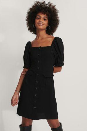 NA-KD Dame Kjoler - Button Up Short Puff Sleeve Dress