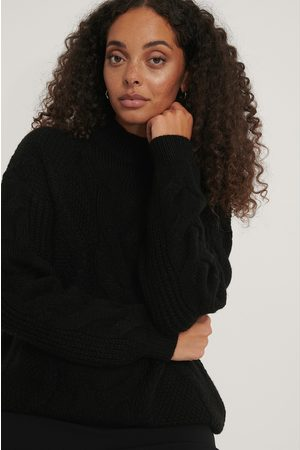 NA-KD Dame Strikkegensere - Oversized Cable Knitted Sweater