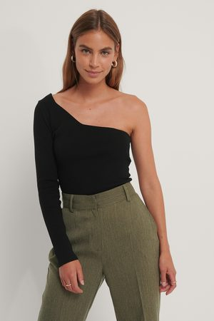 NA-KD Dame Topper - One Shoulder Ribbed Knitted Top