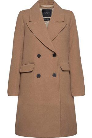 Selected Slfsassy Wool Coat B Ullfrakk Frakk Brun