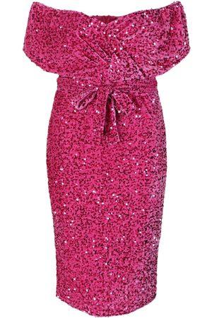 Boohoo Plus Sequin Off The Shoulder Wrap Midi Dress
