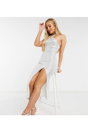Missguided Sequin halterneck midaxi dress in silver