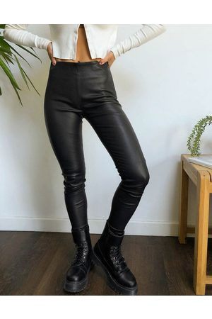 Selected Dame Leggings - Femme real leather leggings in black