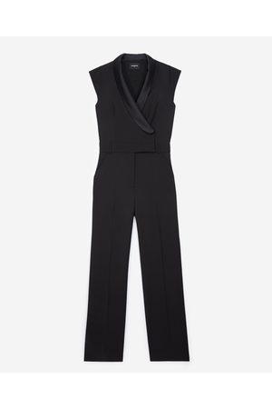 The Kooples Tuxedo-style black jumpsuit in wool