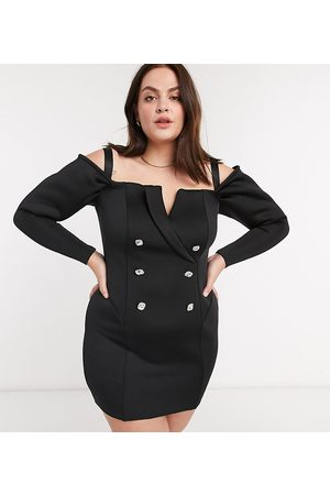 ASOS ASOS DESIGN Curve embellished buttons off shoulder tux mini dress in black