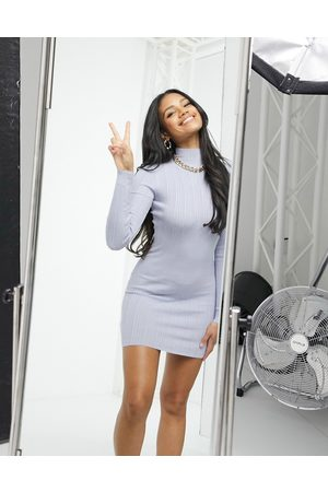 Missguided Ribbed high neck mini dress in lilac-Purple