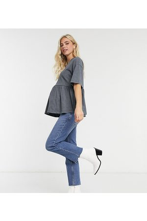ASOS ASOS DESIGN Maternity casual smock top in washed charcoal-Grey