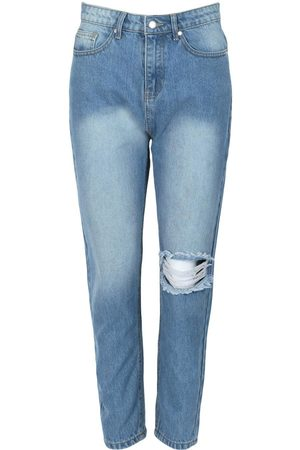 Boohoo Knee Rip Straight Leg High Waisted Jean