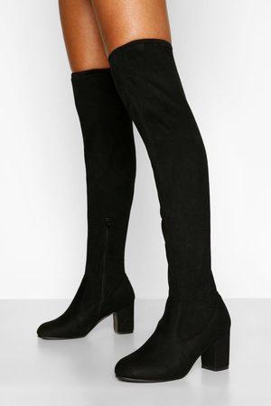 Boohoo Block Heel Stretch Over The Knee Boot