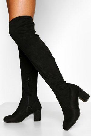 Boohoo Wide Fit Block Heel Stretch Over The Knee Boot