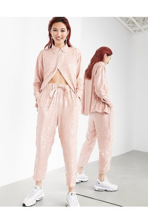 ASOS Sequin jogger co-ord-Pink
