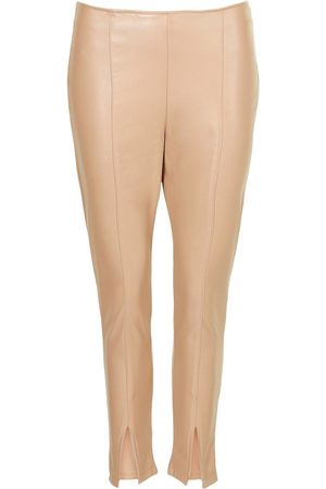 Boohoo Petite Leather Look Split Front Skinny Trousers
