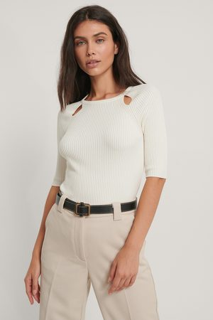 NA-KD Dame Topper - Cut Out Ribbed Knitted Top