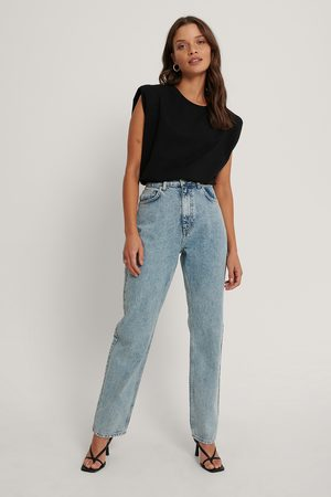 NA-KD Dame High waist - Organic Fold Up Straight High Waist Jeans