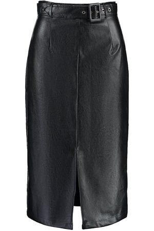 Boohoo Leather Look Belted Long Line Midi Skirt