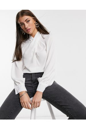 ASOS Long sleeve top with twist neck detail in ivory-White