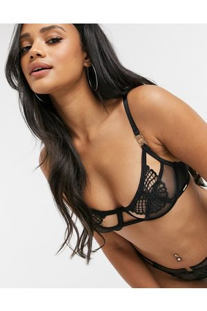 BlueBella Dasha leaf crochet semi open cup bra in black