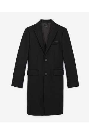 The Kooples Black wool coat with leather lapels