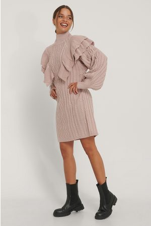 NA-KD Volume Flounce Knitted Dress