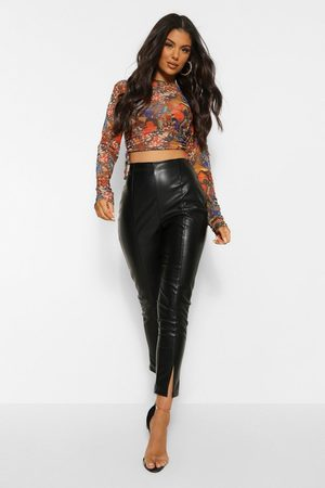 Boohoo Leather Look Split Front Super Skinny Trouser