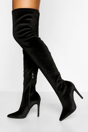 Boohoo Velvet Stiletto Over The Knee Boot