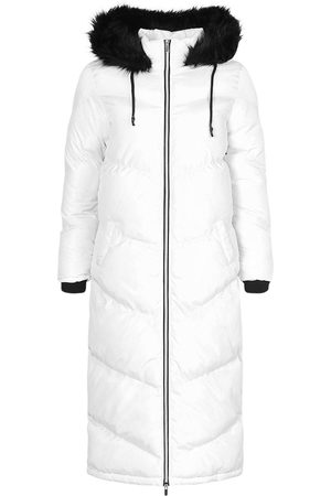 Boohoo Longline Faux Fur Trim Puffer Jacket