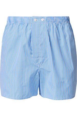 DEREK ROSE Classic Fit Cotton Boxer Shorts Blue Gingham